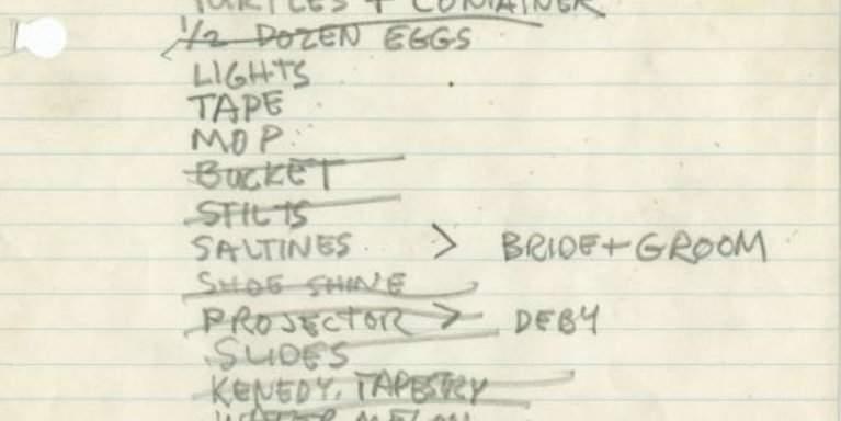 detail of handwritten list